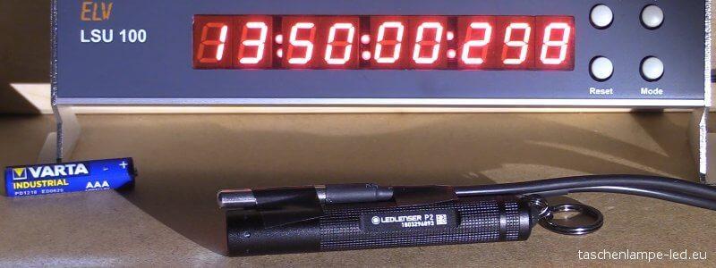 led lenser p2 Batterie Langzeittest