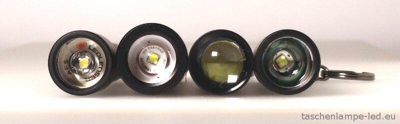 LEDLenser P3 alle vier modelle vorne