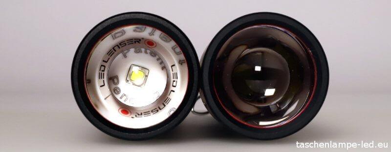 Die LEDLenser T7M und T7.2 von Vorne im Vergleich