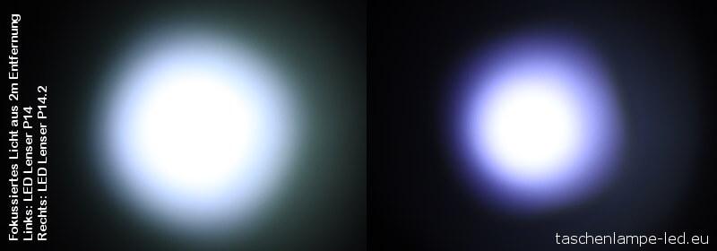 ledlenser P14 lichtkegel Vergleich P14 und P14.2