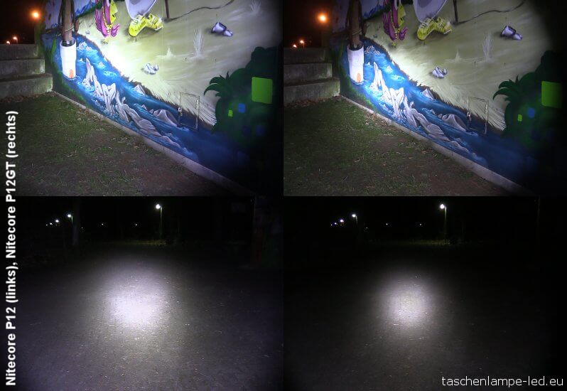 Nitecore P12 und P12GT: Vergleich der Leuchtweite